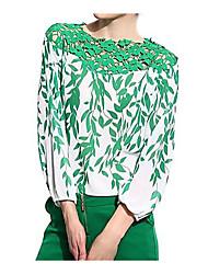 Camisas Casuales ( Gasa/Tela de Encaje )- Cosecha/Sexy/Playa/Impresión/Tela de Encaje/Fiesta/Trabajo Manga Larga para Mujer