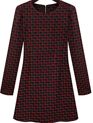 Women's Patchwork Red / Black Dresses , Casual Round Long Sleeve
