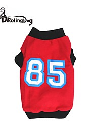 Dog / Cat Shirt / T-Shirt Red / Black Spring/Fall Letter & Number