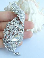 Wedding 3.74 Inch Silver-tone Clear Rhinestone Crystal Leaf Brooch Pendant