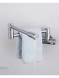 Wall Mounted Single Handle One Hole in Chrome Bathroom Sink Faucet