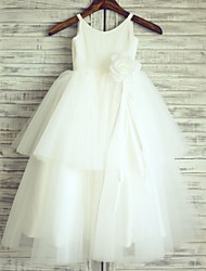 Princess Floor Length Flower Girl Dress - Cotton Tulle Sleeveless Straps with Flower