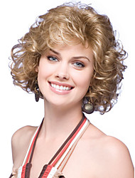 New Short Blonde Mix Curly Heat Resistant Women's Full Wig