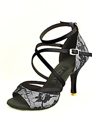 Customizable Women's Dance Shoes Latin/Salsa Lace Customized Heel Black/Yellow/Red