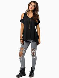 Women's Sexy Round Neck Ruffle T-shirt ,  Short Sleeve