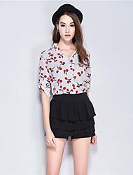 Mulheres Camisa Colarinho Chinês Manga ¾ Linho Mulheres