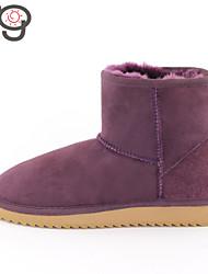 Calçados Femininos Pele de Carneiro/Lã Salto Baixo Botas de Neve/Arrendondado/Botas da Moda BotasAr-Livre/Escritório &