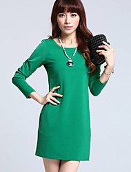 Dominic Women's Solid Color Pink / Black / Green Dresses , Bodycon / Casual Round Long Sleeve