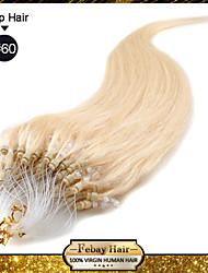 """20 """"blonde blanco (# 60) 100s extensiones de cabello humano micro loop"""