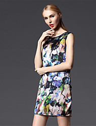 New Arrival Women's 2015 Elegant OL Slim Print Dress Sleeveless One-piece Dress High Quality Design Dress