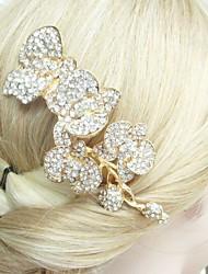 Wedding Headpiece 4.92 Inch Gold-tone Clear Rhinestone Crystal Flower Bridal Hair Comb Wedding Hair Accessories