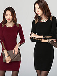DUO.L Women's Solid Red / Black Dresses , Sexy / Casual / Work Round Long Sleeve