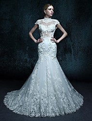 Trumpet/Mermaid Wedding Dress-Chapel Train High Neck Tulle