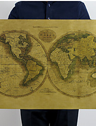 Карта старого мира отображает холст печати жикле печати одна панель матовая крафт готовы повесить