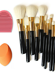 12pcs Pure Wool Makeup Brushes+Brush Cleaning Tool+Beauty Makeup Foundation Egg Puff(Assorted Sets)