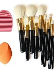 12pcs pinceaux de maquillage de laine pures + outil de nettoyage à brosse + feuilletée maquillage beauté fondation oeuf (ensembles