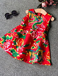 Kid's Chinese Style Vest Skirt Red Dress