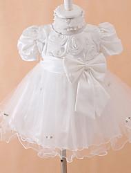 Ball Gown Tea-length Baby Flower Girl Dress - Cotton/Tulle/Polyester Short Sleeve