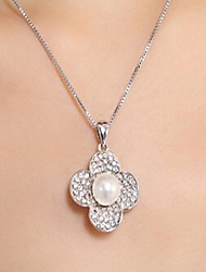 The New Version Of Full Diamond Pearl Necklac Cute/Casual Cubic Zirconia/Imitation Pearl Pendant Necklace