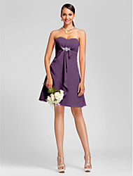Knee-length Chiffon Bridesmaid Dress - Plus Size / Petite A-line / Princess Strapless / Sweetheart
