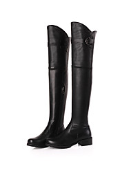 Women's Shoes Leather Platform Riding Boots Boots Outdoor/Party & Evening/Casual Black