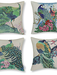pavão modelado algodão / linho capa de travesseiro decorativo verde (17 * 17 polegadas)