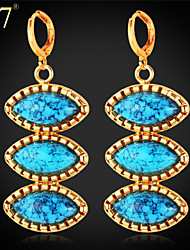 U7® Women's Fancy Design Platinum/18K Gold Plated Earrings Turkish Jewelry Eyes Shaped Turquoise Dangle Earrings