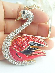 Charming Swan Key Chain With Clear & Red Rhinestone Crystals