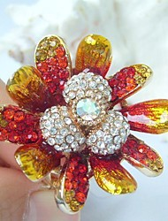 Gorgeous Orchid flower Ring Size 9 With Clear Rhinestone Crystals