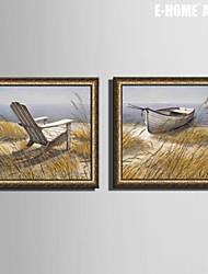 e-home® incorniciata su tela, il lago e la sedia di legno incorniciata tela set di stampa di 2