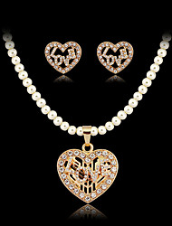 May Polly  The popular Europe heart Star Diamond Necklace Earrings Set