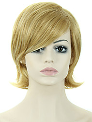 Women Lady Short Synthetic Hair Wigs Pixie Cut wig Short Straight Hair Brown with Blonde Wig