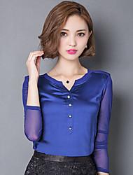 Tee-shirt Aux femmes,Couleur Pleine Décontracté / Quotidien simple Automne Manches Longues Col Arrondi Bleu / Noir / Jaune Nylon / Spandex