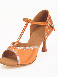 Satin T-Strap Latin / Ballroom Dance Shoes With Rhinestone For Women