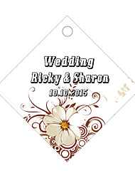 Personalized Rhombus Wedding Favor Tags - White  Design (Set of 36)