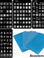 4PCS 4 Mixed Design Nail Art Stamping/Stamper Image Template Plate Nail Stencils/Molds for Acrylic Nail Tips MLS Series
