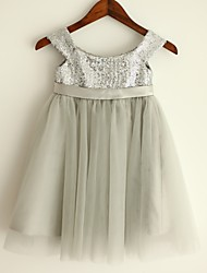 Princess Knee-length Flower Girl Dress - Tulle/Sequined Sleeveless