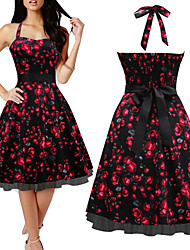 Para Women's Vintage/Sexy/Casual/Print/Party Off-the-shoulder/Straps Sleeveless Floral Dresses (Cotten Blend/Polyester)