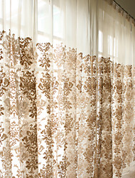Two Panels Embroidery Sheer Curtains Drapes