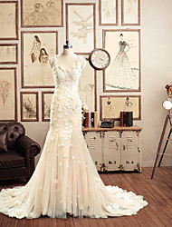 Trumpet/Mermaid Wedding Dress - Champagne Chapel Train Spaghetti Straps/Straps Lace
