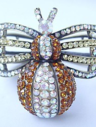 Pretty Beetle Bracelet Bangle With Topaz & Clear Rhinestone crystals