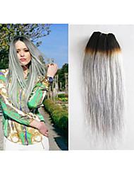 "3pcs / lot onda do corpo humano brasileiro 100g de cabelo / pc, cabelo humano 8 ""-34"" extensões de cabelo cinza tece"