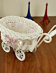 mini-bebê vagão carruagem rattan organizador de desktop handmade deco casa (cor aleatória)