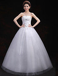 Ball Gown Wedding Dress - White Floor-length Strapless Lace/Tulle