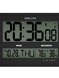 Baldr Jumbo LCD Digital Wall Clock, Calendar Measuring Temperature Humidity Monitor , Big Size For Hanging