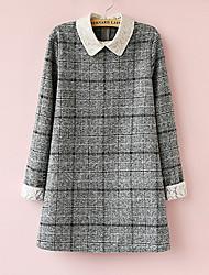 Polyester / Wolmixen-OverhemdkraagBoven de knie-Moederschap jurk-Lange mouw