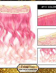 resistencia a altas temperaturas en dos tonos rizado extensión peluca 5 clip de 24 pulgadas 16 colores f11 disponibles