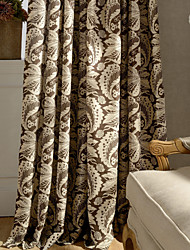One Panel Leaf Cotton Linen Printing  Curtain