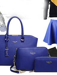 Femme Polyuréthane Formel / Décontracté / Bureau & Travail / Shopping Sac à Bandoulière / Cabas Rose / Bleu / Rouge / Noir