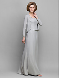 Sheath / Column Mother of the Bride Dress Floor-length Long Sleeve Chiffon with Beading